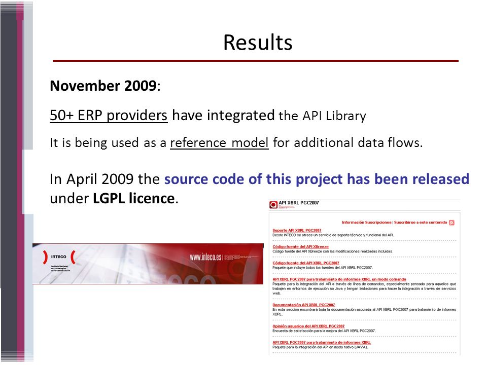 Results November 2009: 50+ ERP providers have integrated the API Library. It is being used as a reference model for additional data flows.