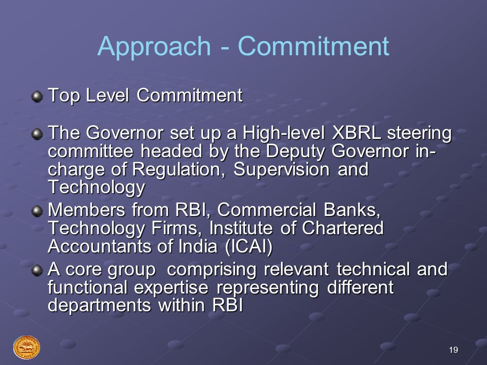 Approach - Commitment Top Level Commitment