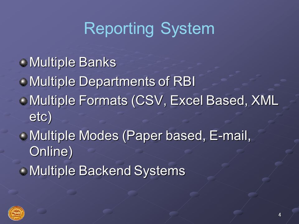 Reporting System Multiple Banks Multiple Departments of RBI