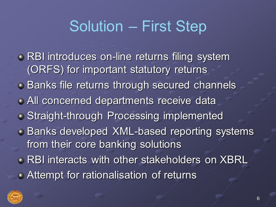 Solution – First Step RBI introduces on-line returns filing system (ORFS) for important statutory returns.