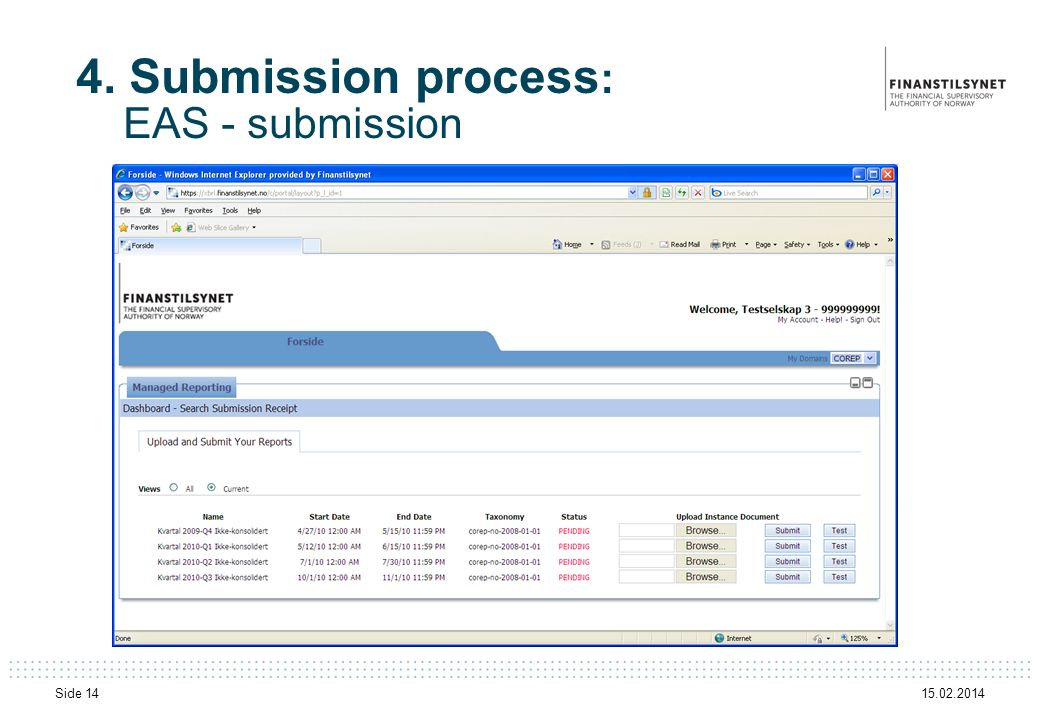 4. Submission process: EAS - submission