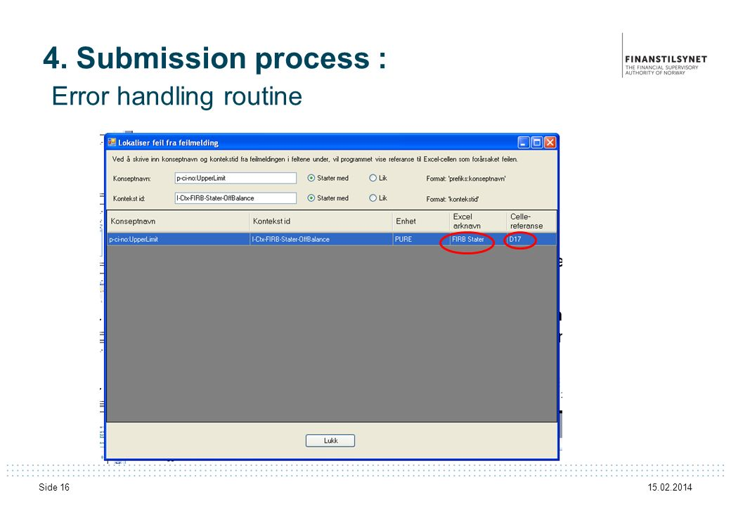 4. Submission process : Error handling routine