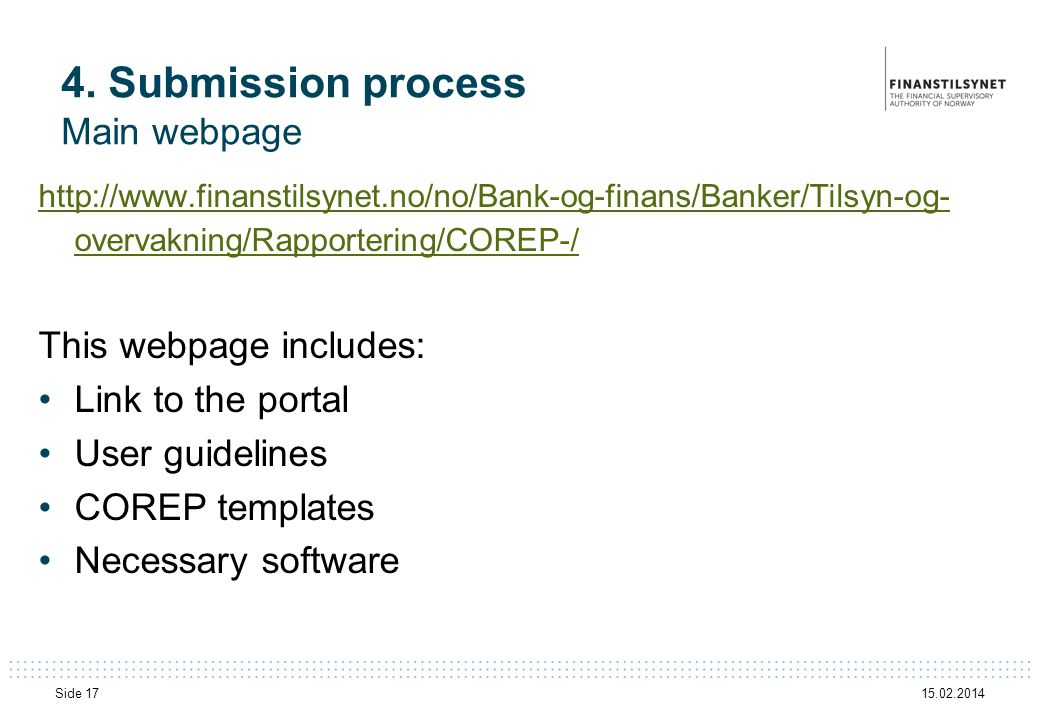 4. Submission process Main webpage