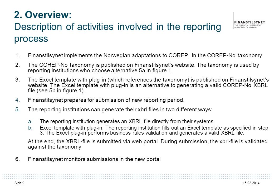 2. Overview: Description of activities involved in the reporting process
