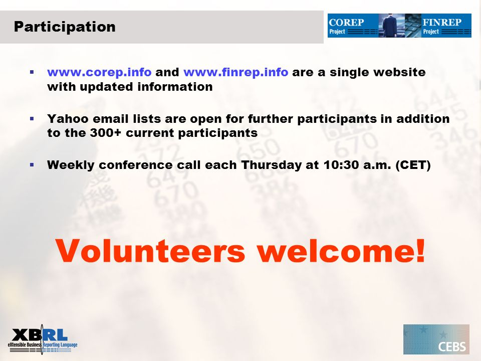 Volunteers welcome! Participation