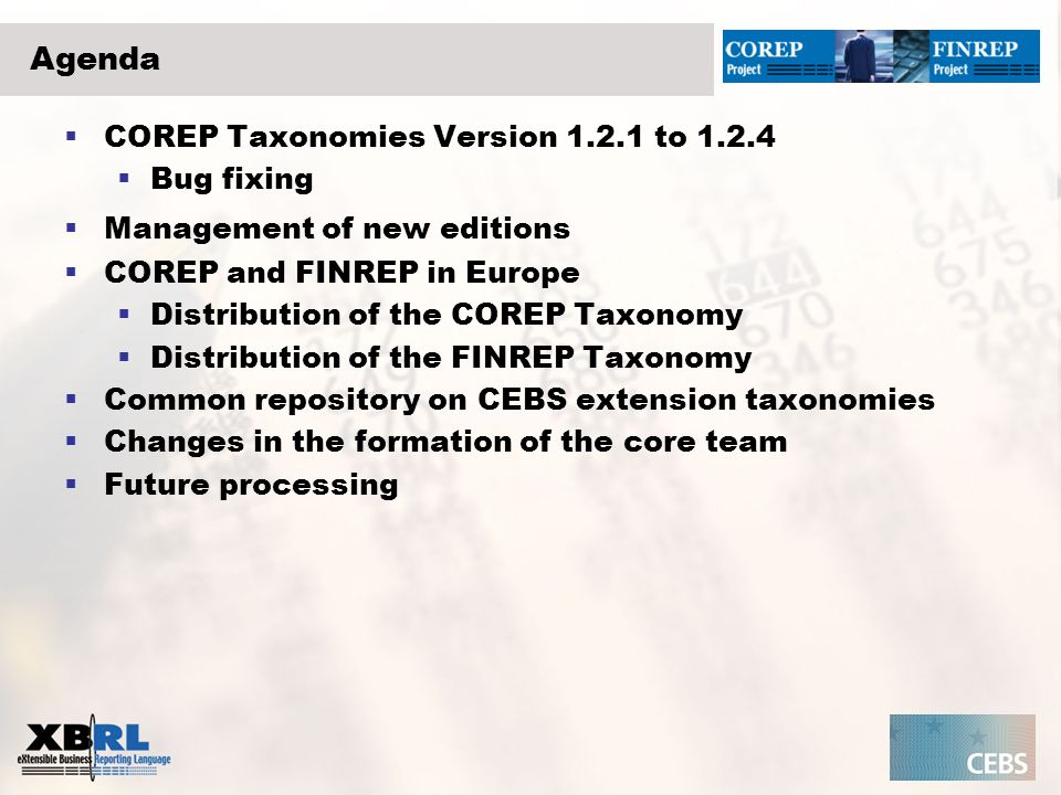 Agenda COREP Taxonomies Version to Bug fixing