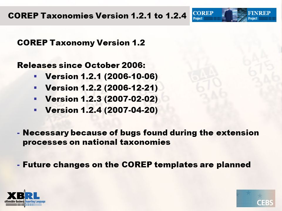 COREP Taxonomies Version to 1.2.4