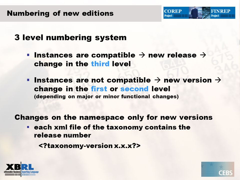 Numbering of new editions