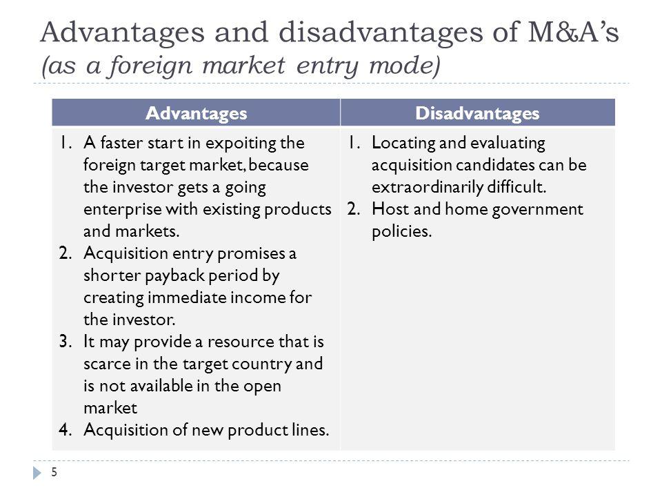 advantages and disadvantages of acquisitions