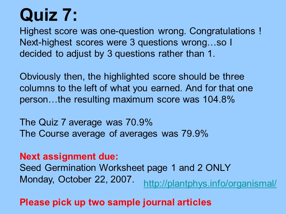 Quiz 7: Highest score was one-question wrong. Congratulations !