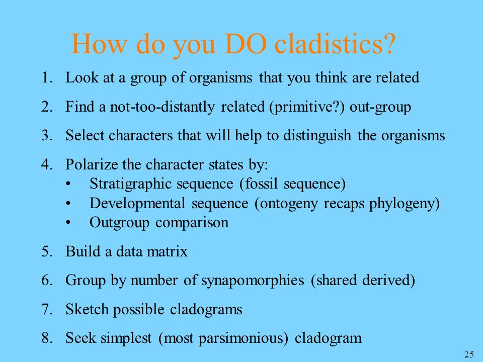 How do you DO cladistics
