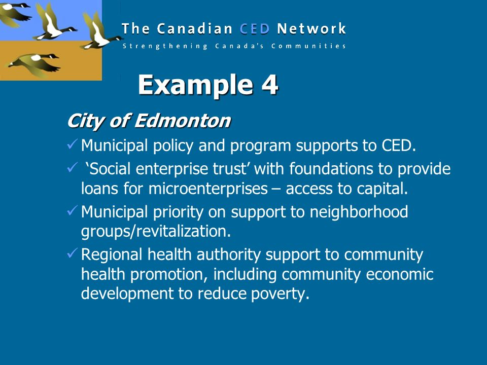 Example 4 City of Edmonton