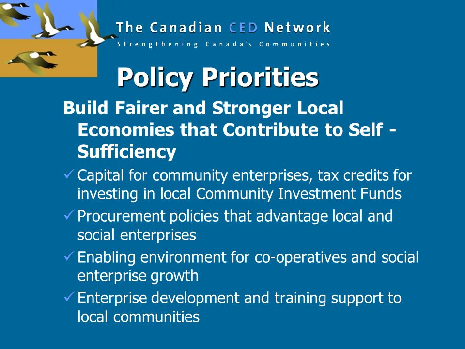 Policy Priorities Build Fairer and Stronger Local Economies that Contribute to Self -Sufficiency.