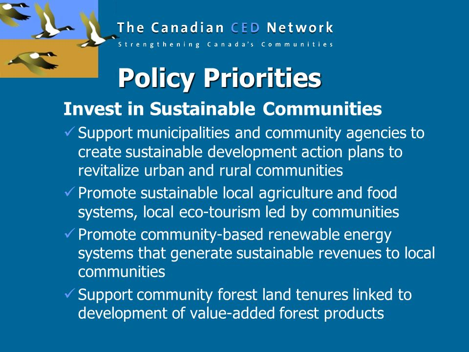 Policy Priorities Invest in Sustainable Communities