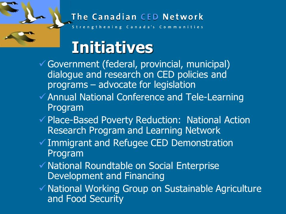 Initiatives Government (federal, provincial, municipal) dialogue and research on CED policies and programs – advocate for legislation.
