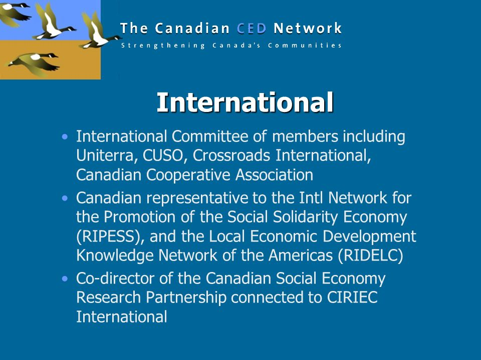 International International Committee of members including Uniterra, CUSO, Crossroads International, Canadian Cooperative Association.