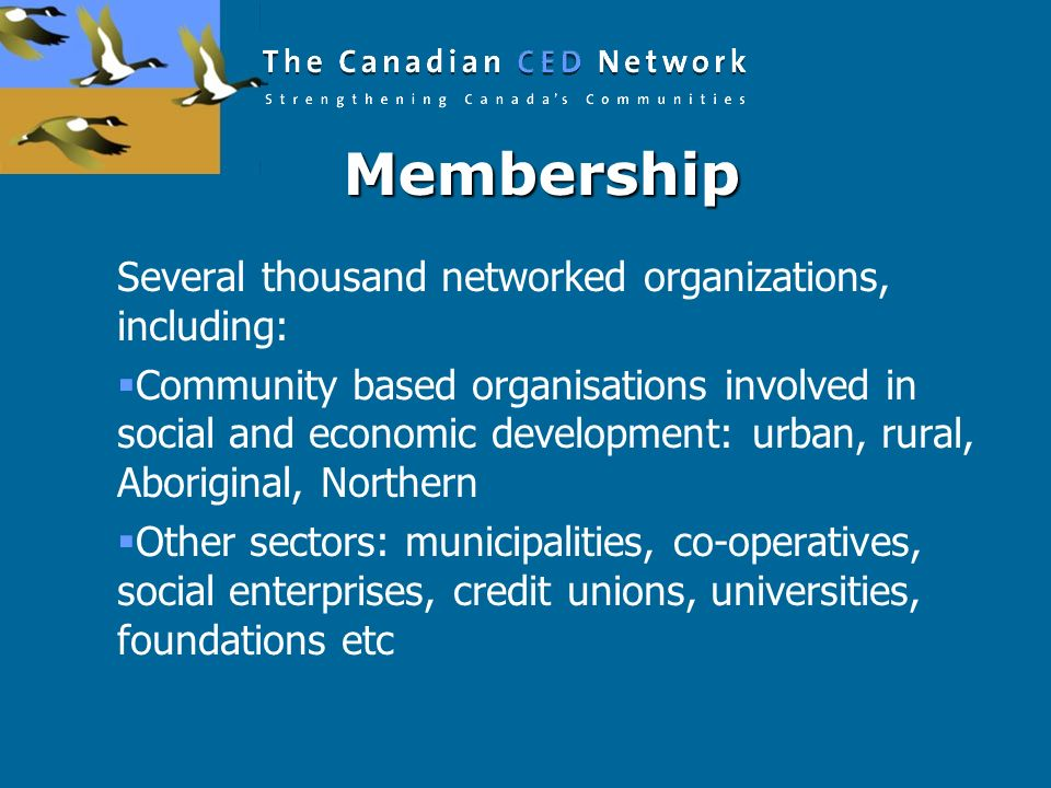 Membership Several thousand networked organizations, including: