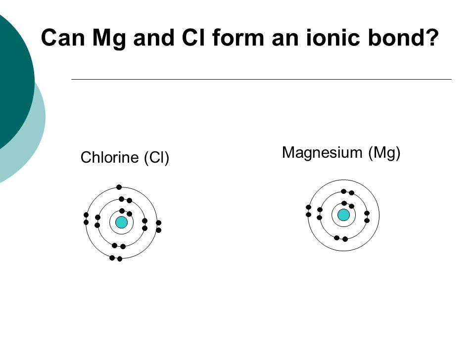 Can Mg and Cl form an ionic bond