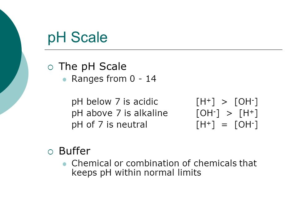 pH Scale The pH Scale Buffer Ranges from