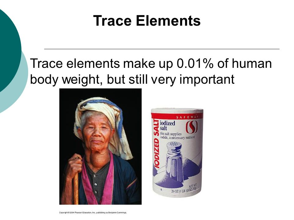 Trace Elements Trace elements make up 0.01% of human body weight, but still very important