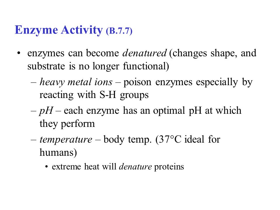 Enzyme Activity (B.7.7) enzymes can become denatured (changes shape, and substrate is no longer functional)