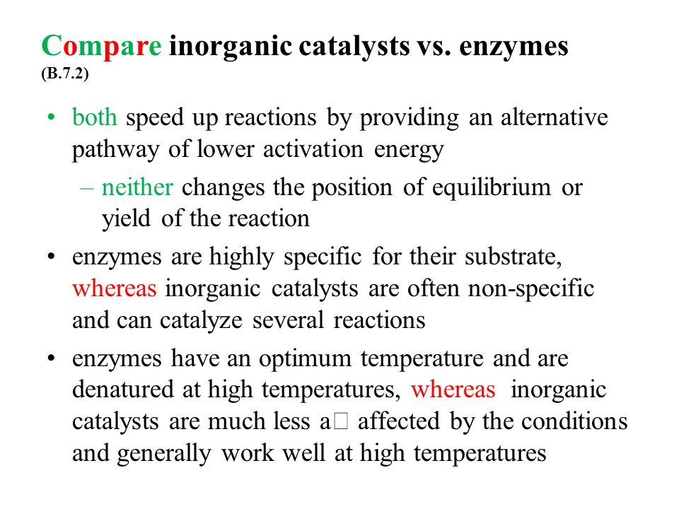 Compare inorganic catalysts vs. enzymes (B.7.2)