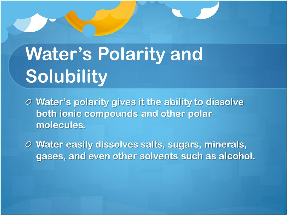 Water's Polarity and Solubility