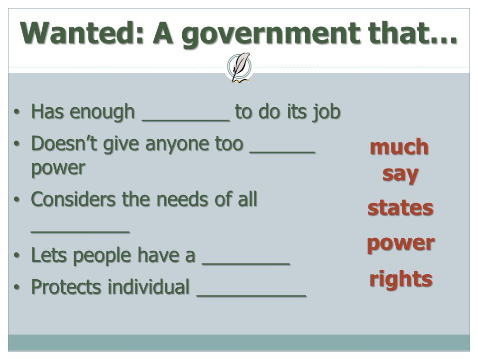 A Just Right Government Ppt Download