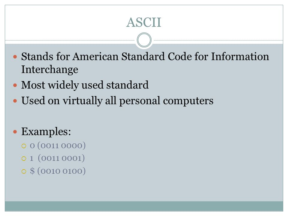 ASCII Stands for American Standard Code for Information Interchange