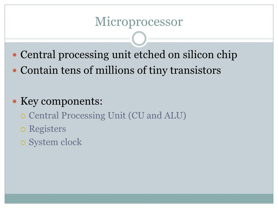 Microprocessor Central processing unit etched on silicon chip