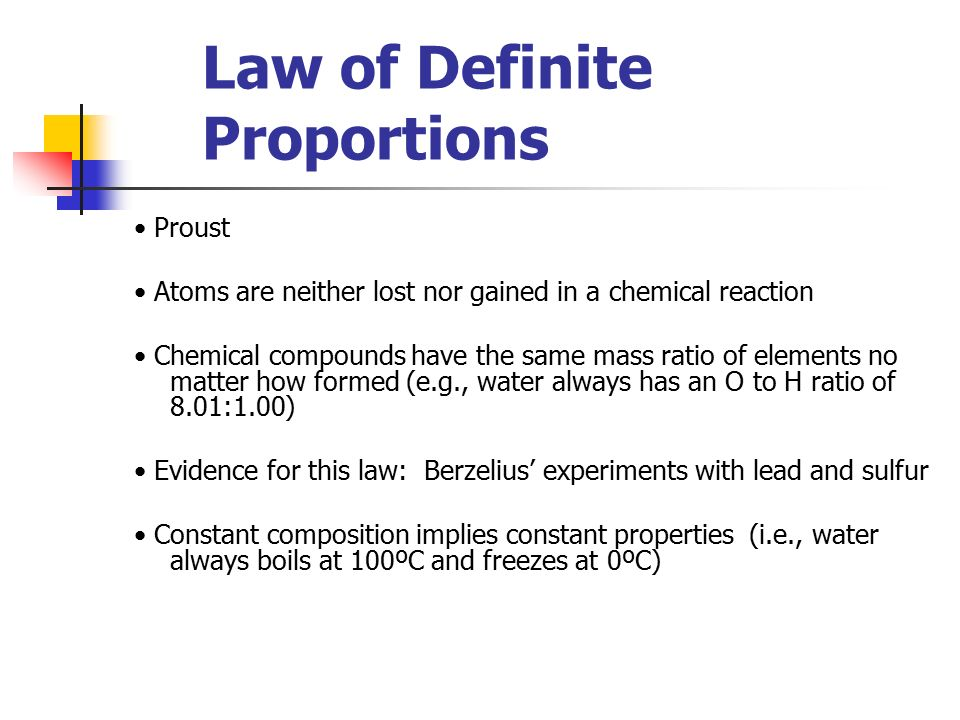 Definite Proportions Multiple Proportions And Atomic Theory Ppt