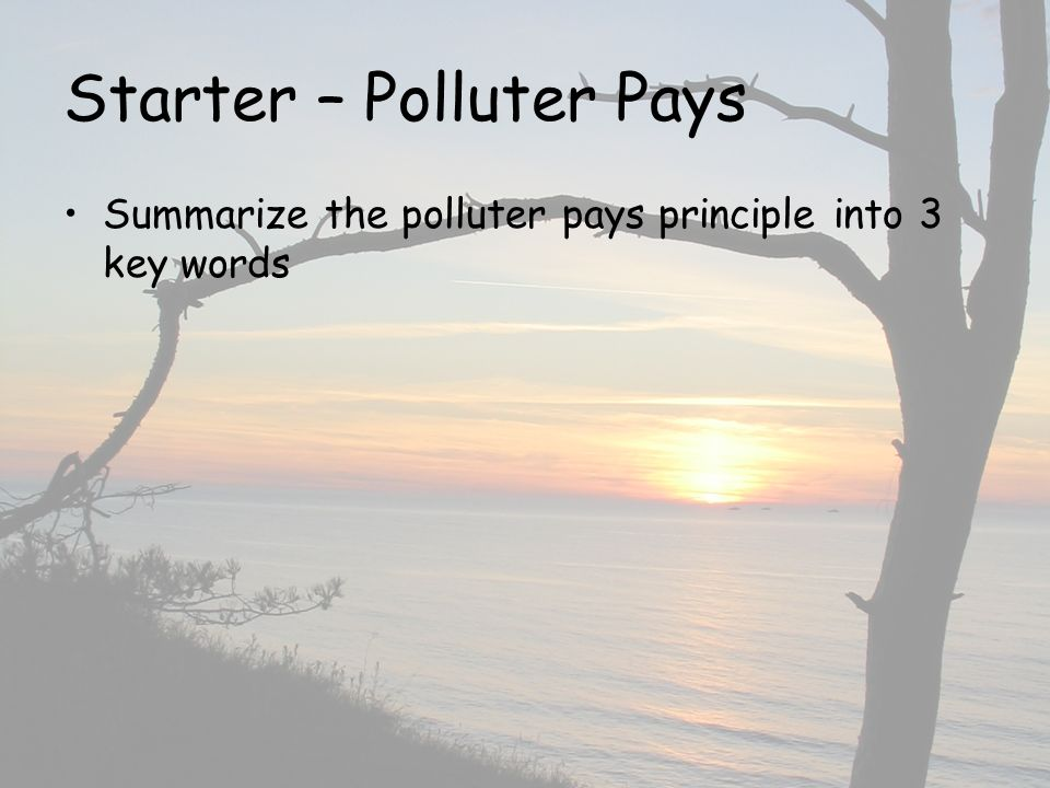 Starter – Polluter Pays