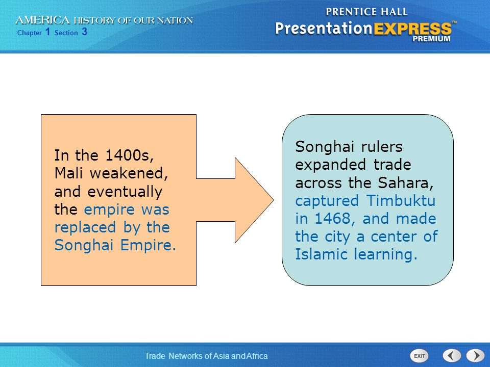 Songhai rulers expanded trade across the Sahara, captured Timbuktu in 1468, and made the city a center of Islamic learning.