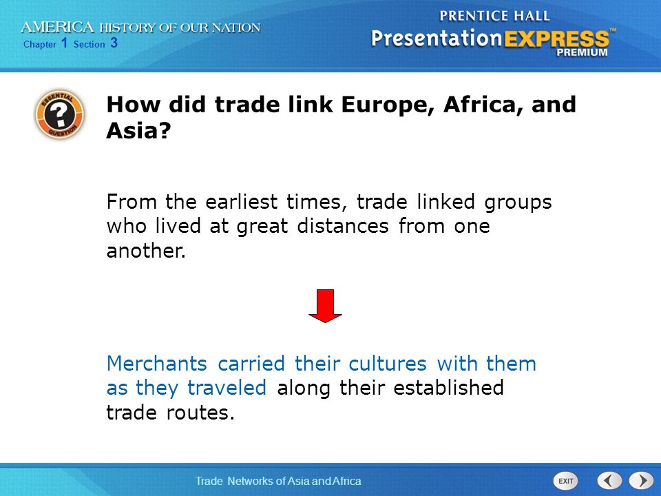 How did trade link Europe, Africa, and Asia
