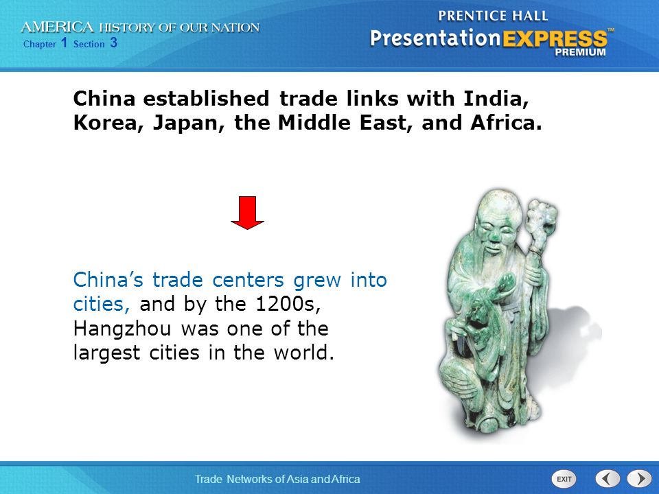 China established trade links with India, Korea, Japan, the Middle East, and Africa.