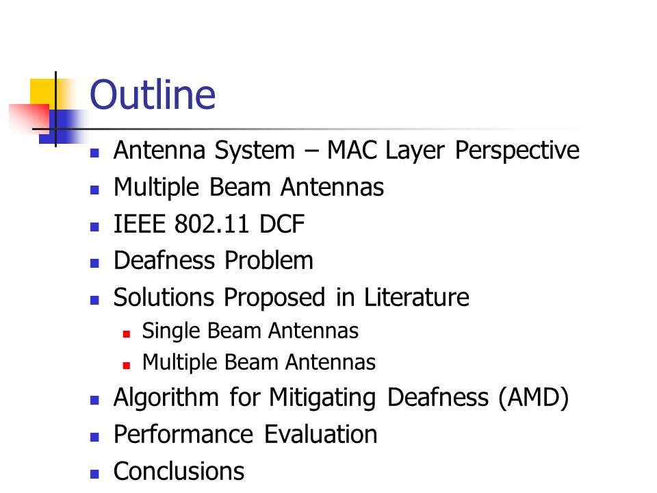 Outline Antenna System – MAC Layer Perspective Multiple Beam Antennas