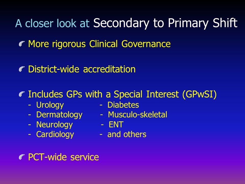 A closer look at Secondary to Primary Shift