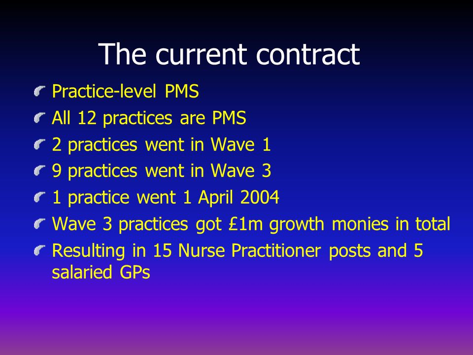 The current contract Practice-level PMS All 12 practices are PMS
