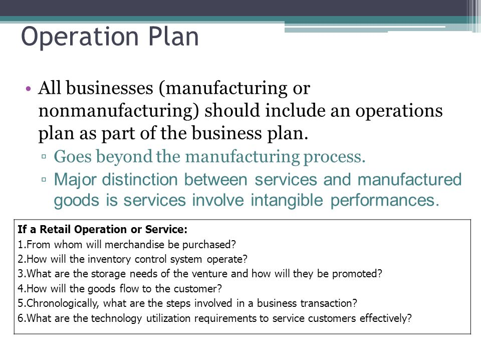 operations plan in business plan
