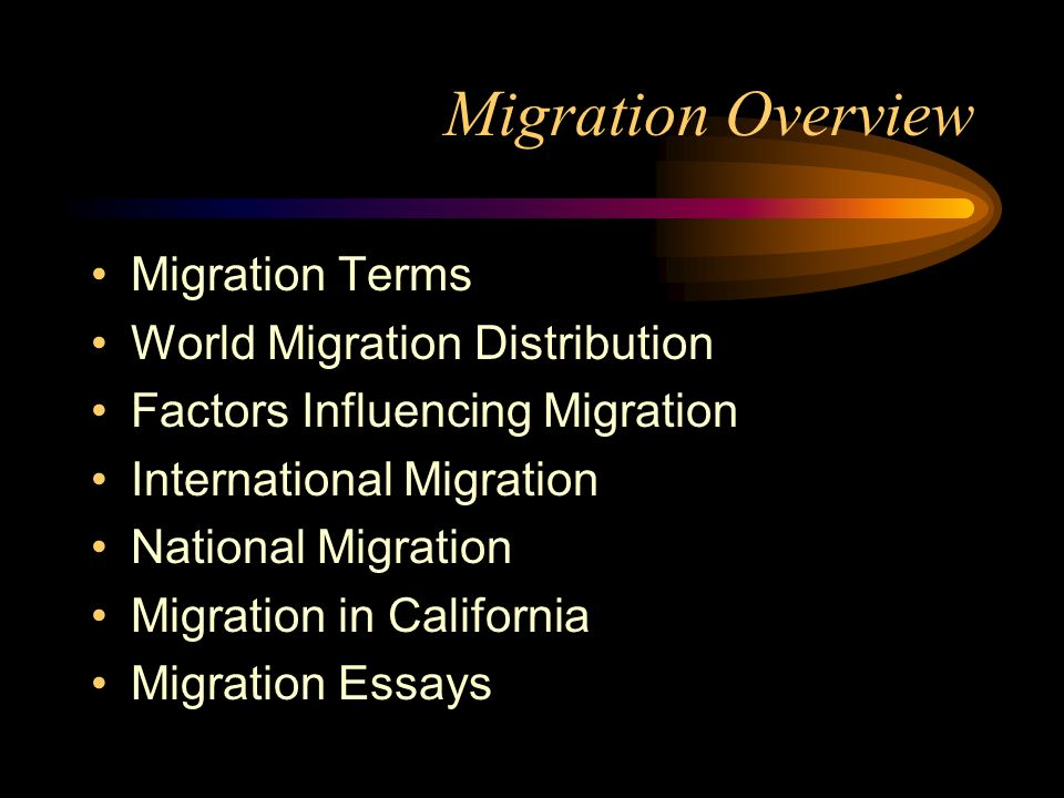 Migration Overview Migration Terms World Migration Distribution