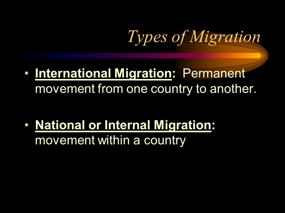 Types of Migration International Migration: Permanent movement from one country to another.