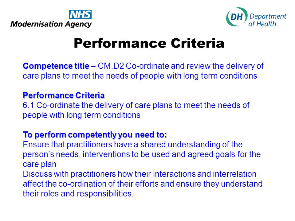 Performance Criteria Competence title – CM.D2 Co-ordinate and review the delivery of care plans to meet the needs of people with long term conditions.