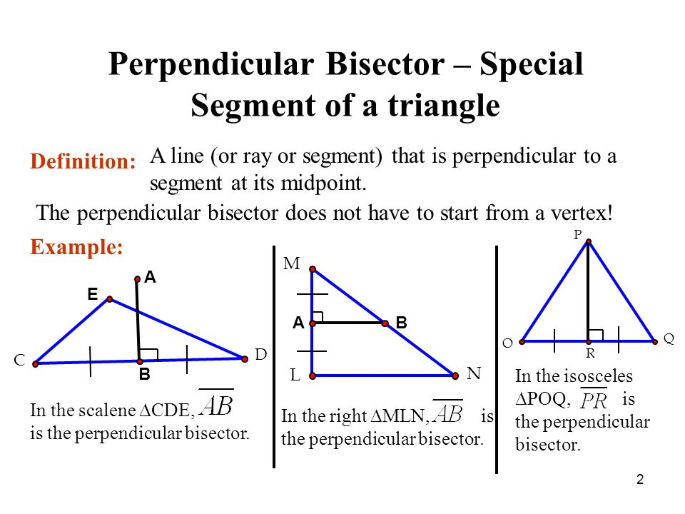 Chapter 5 Review Perpendicular Bisector Angle Bisector Median