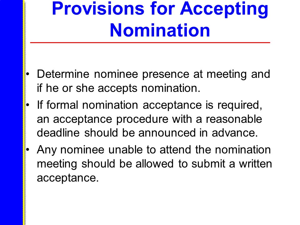 Provisions for Accepting Nomination