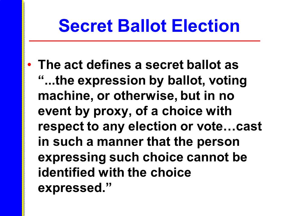 Secret Ballot Election