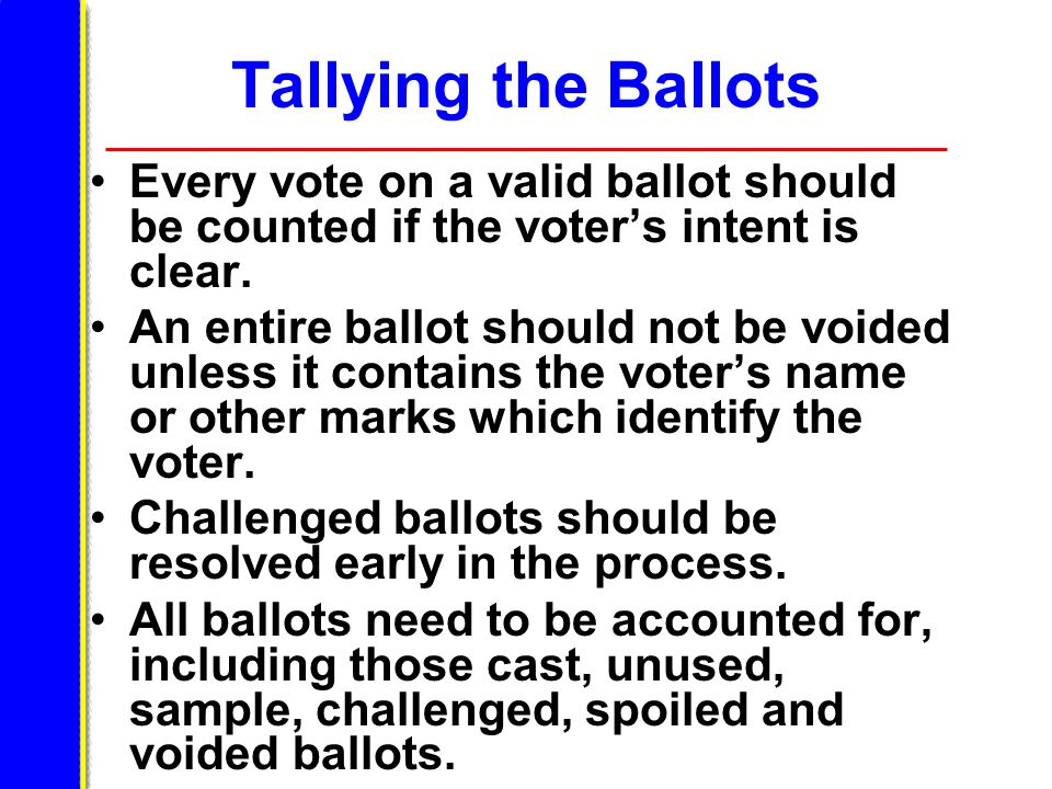 Tallying the Ballots Every vote on a valid ballot should be counted if the voter's intent is clear.
