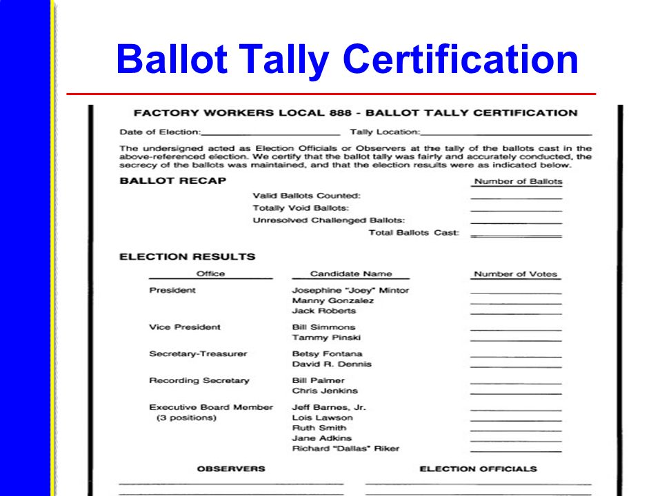 Ballot Tally Certification