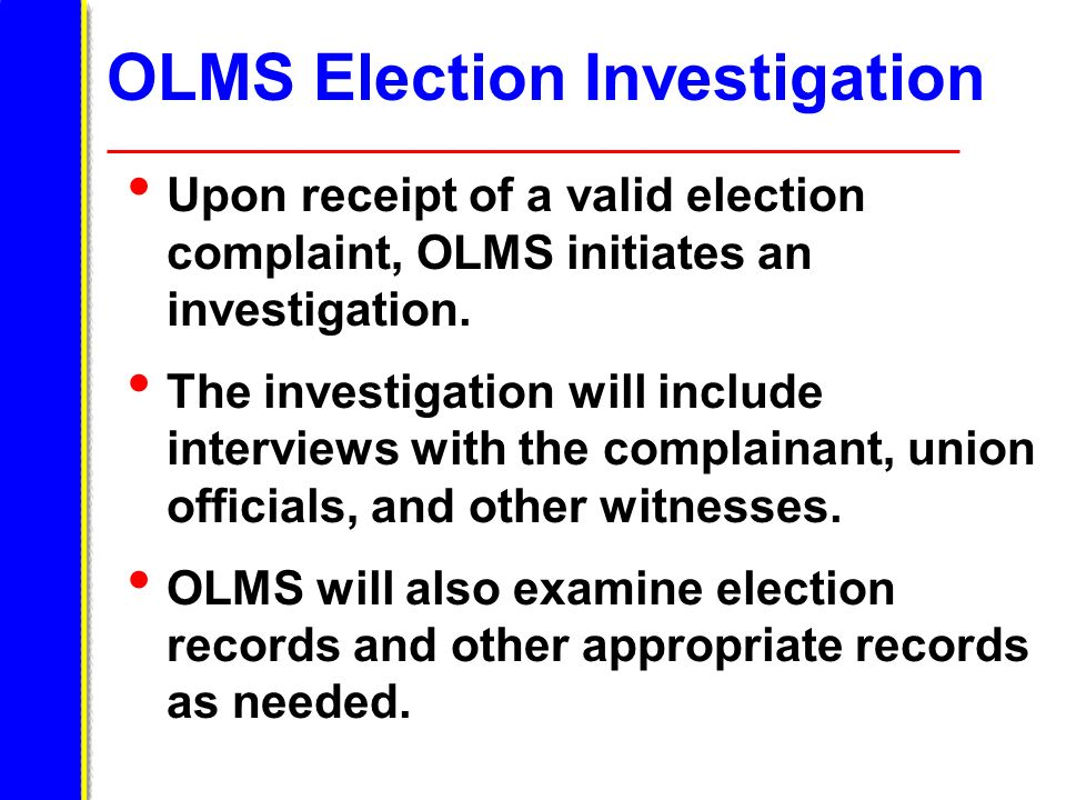 OLMS Election Investigation