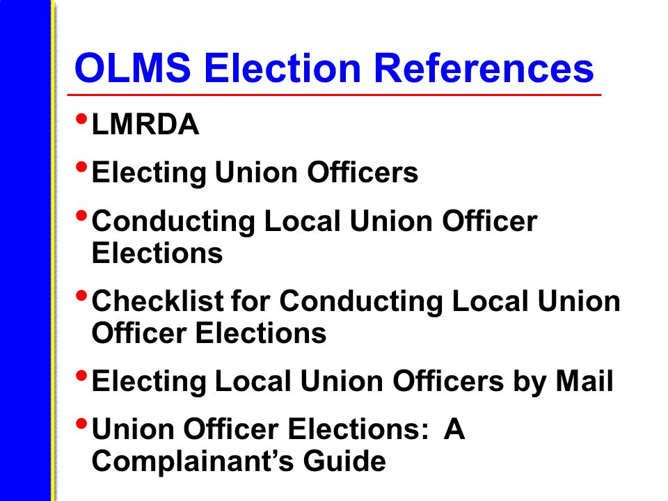 OLMS Election References