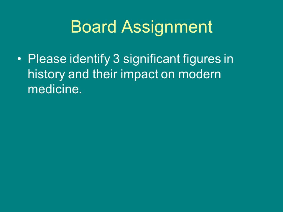 Board Assignment Please identify 3 significant figures in history